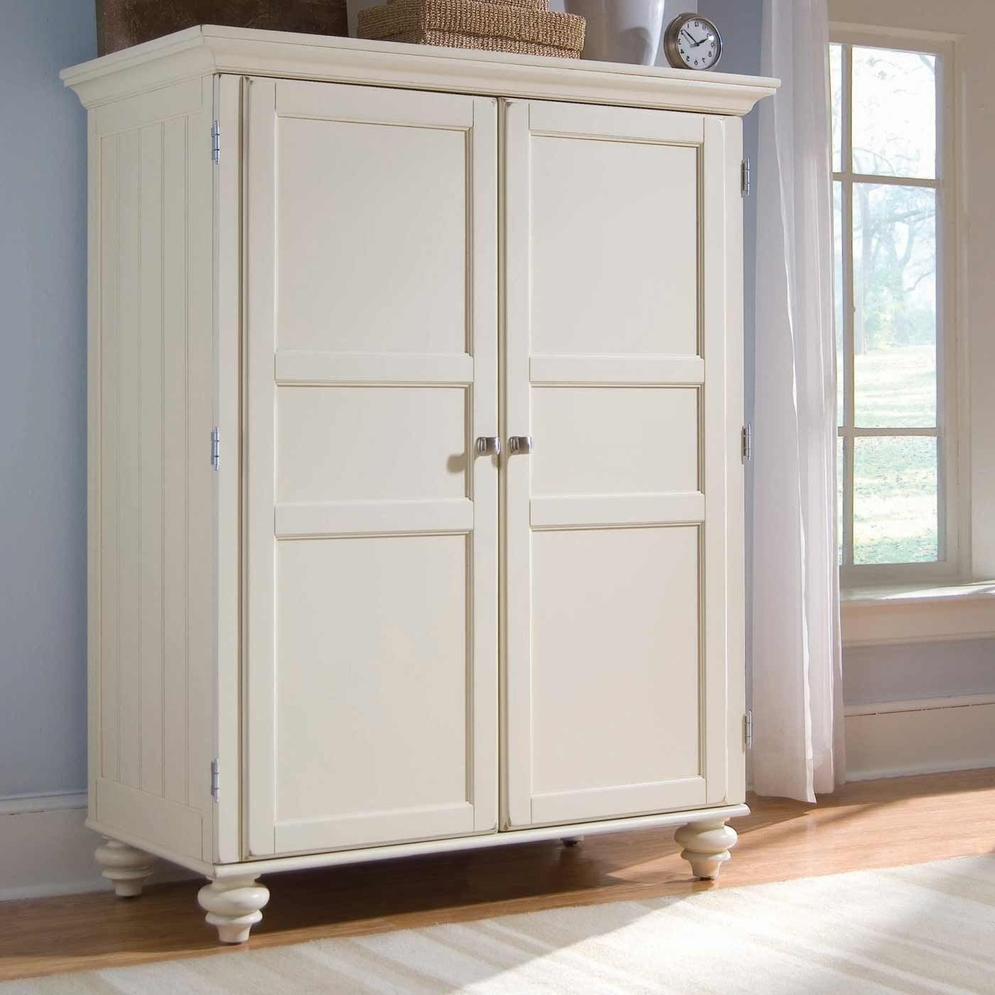 Morgan Cheap Armoire Desk In Cream White (View 5 of 15)