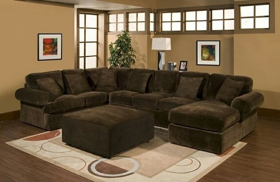 Most Current 3 Pc Bradley Sectional Sofa With Chocolate Plush Velour Microfiber Intended For Chocolate Brown Sectional Sofas (View 7 of 10)