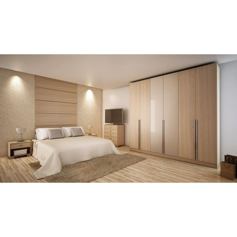 Most Current 6 Door Wardrobes Bedroom Furniture For Manhattan Comfort Eldridge Oak Vanilla Pro Touch/metallic Nude (View 13 of 15)