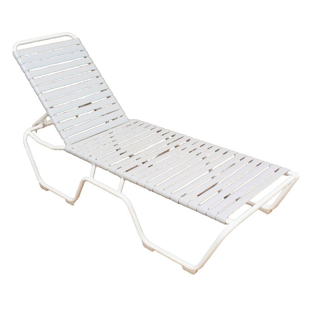 Most Current Commercial Grade Outdoor Chaise Lounge Chairs With Marco Island White Commercial Grade Aluminum Vinyl Strap Outdoor (View 9 of 15)