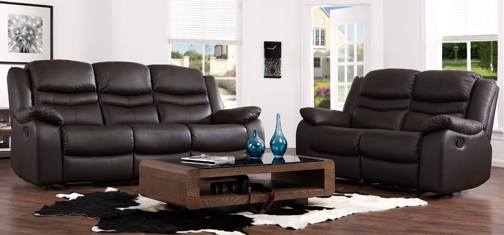 Most Current Contour Espresso Brown Reclining 3 2 Seater Leather Sofa Set In Within 2 Seater Recliner Leather Sofas (View 6 of 15)