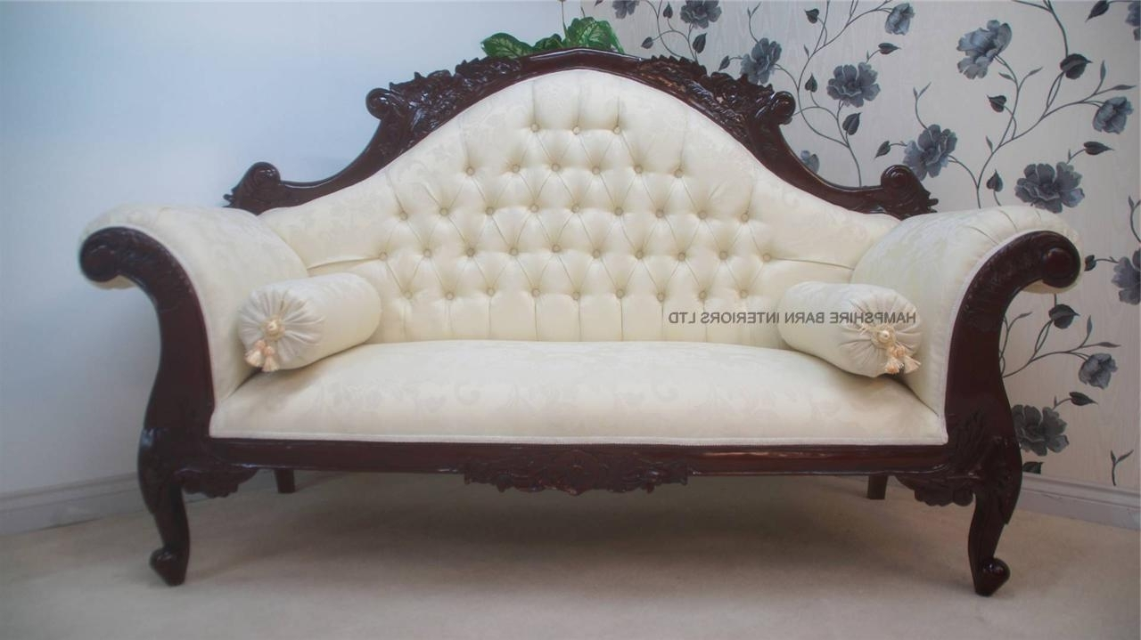 Most Current Damask Chaise Lounge Chairs For Antique Replica Charles Louis  Cuddler Sofa Chaise In Mahogany