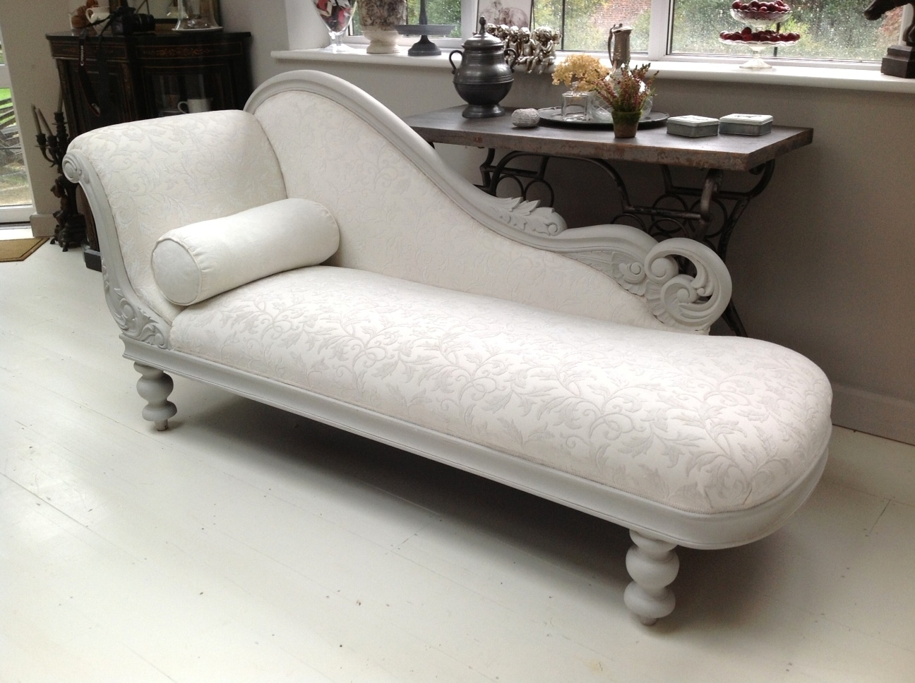 Most Current Damask Chaise Lounge Chairs Pertaining To A Dazzling Chaise  Longue, Painted In Annie