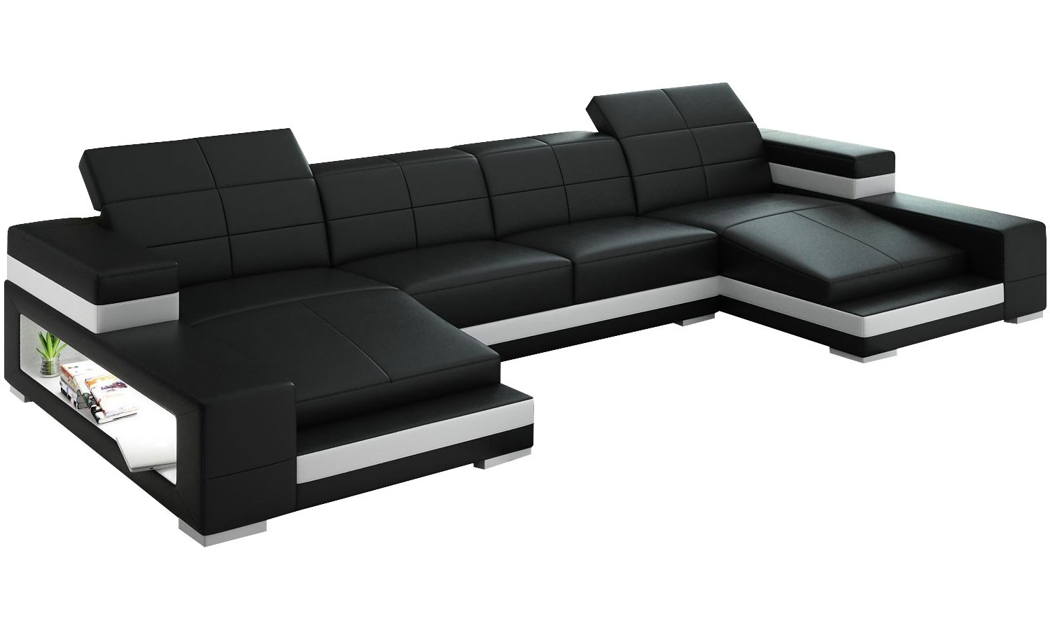 Most Current Dual Chaise Sectionals In Double Leather Chaise Sectional With Ergonomic Back And Storage In (View 13 of 15)