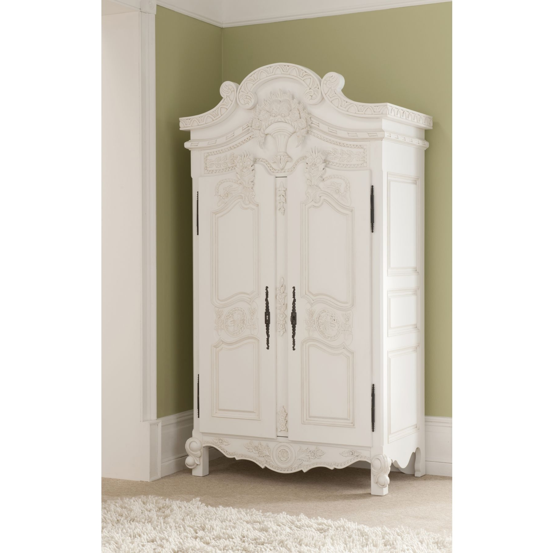 Most Current Faux  Antique French Wardrobe In Ivory. Spare Bedroom (View 7 of 15)