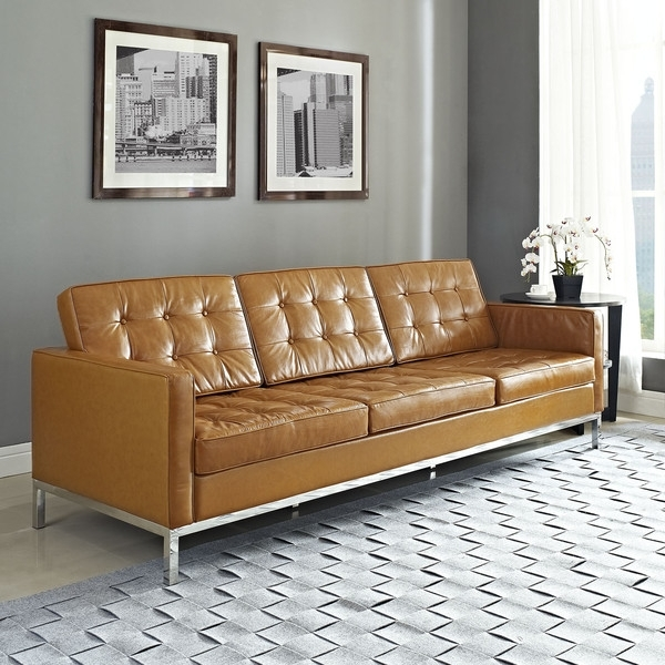Most Current Florence Sofas And Loveseats Regarding Florence Knoll Style Leather Sofa (View 8 of 10)