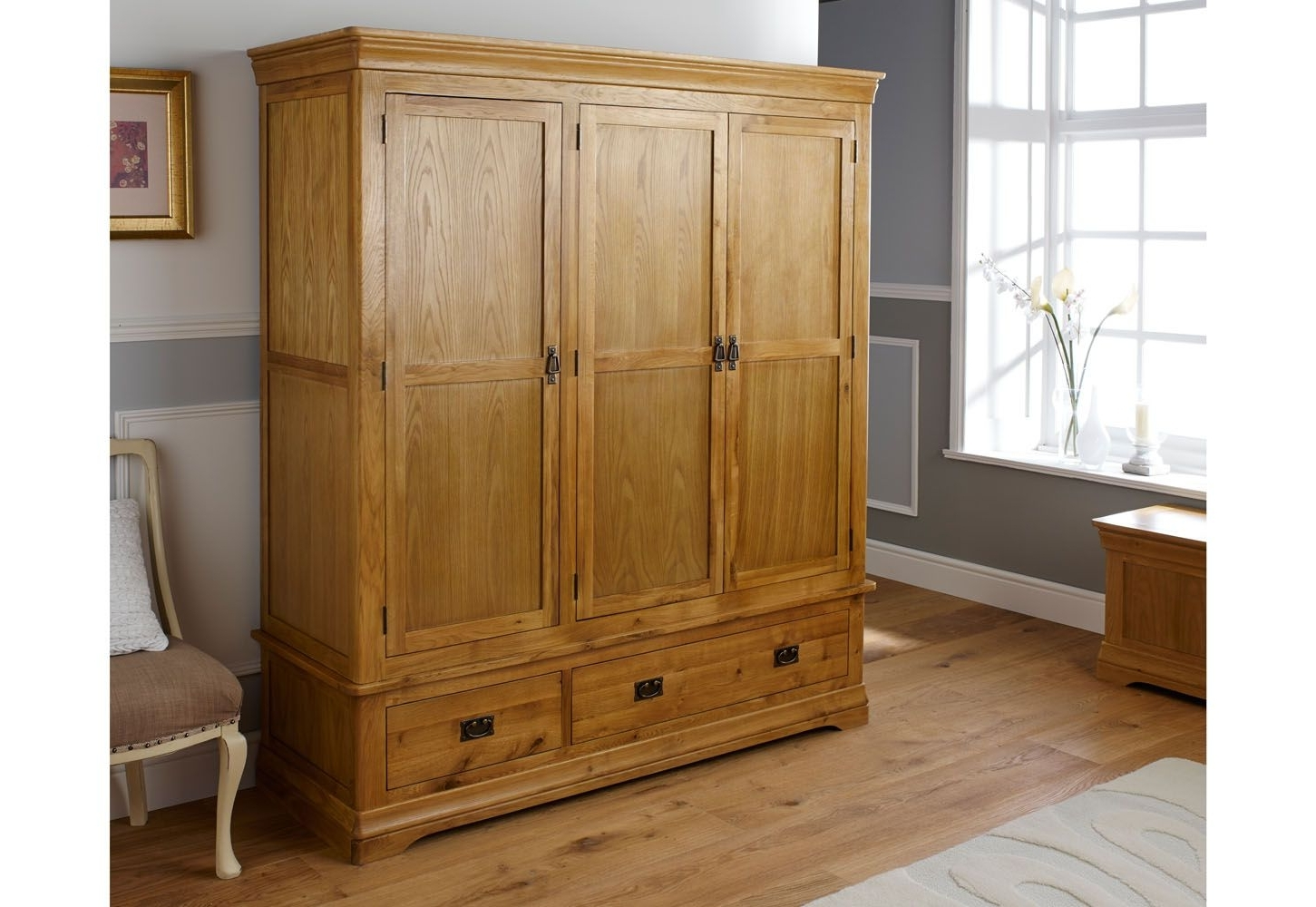 Most Current French Farmhouse Large Triple Oak Wardrobe For Large Oak Wardrobes (View 12 of 15)