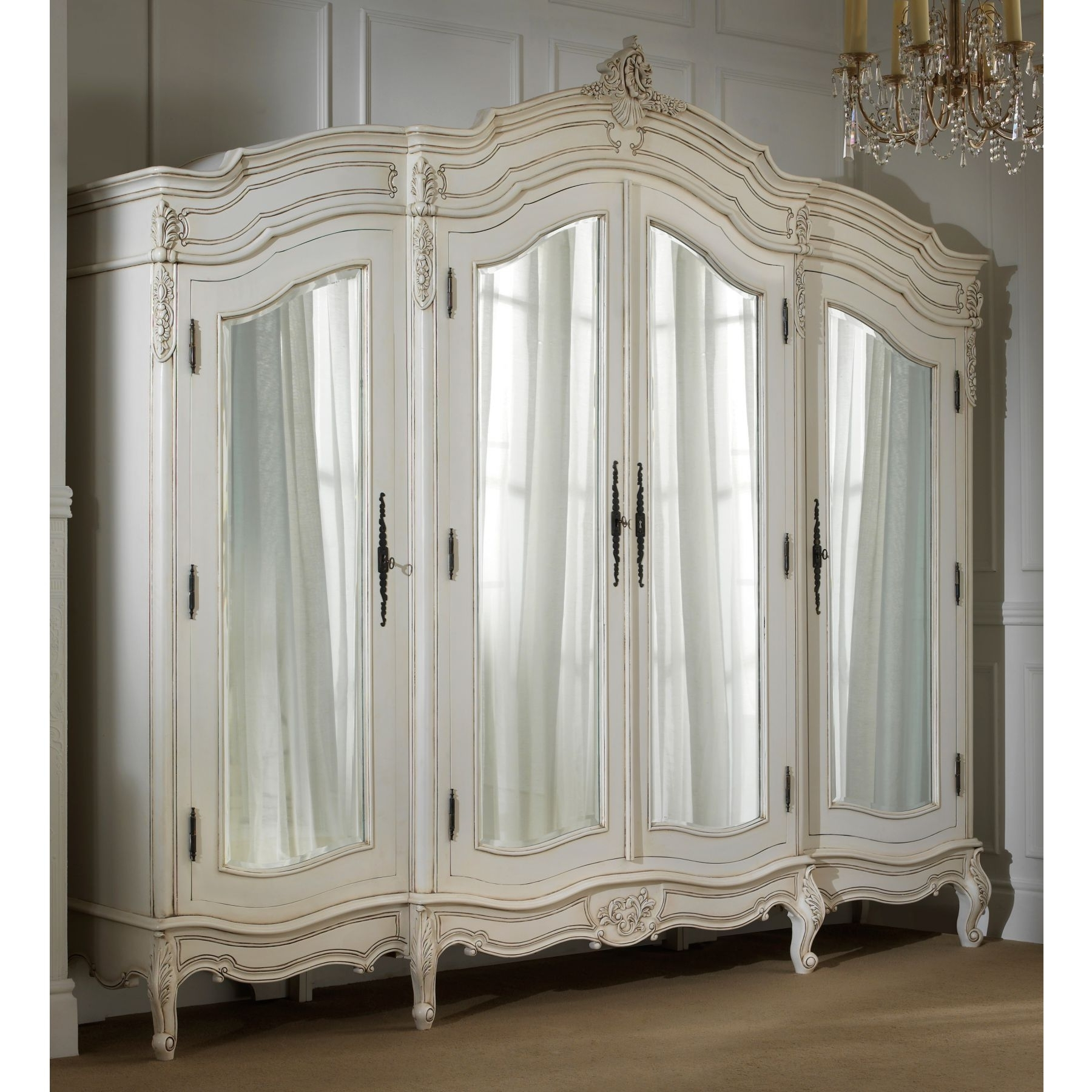 Most Current French Style Armoires Wardrobes Throughout Rochelle 4 Door  Antique French Wardrobe (Gallery 7
