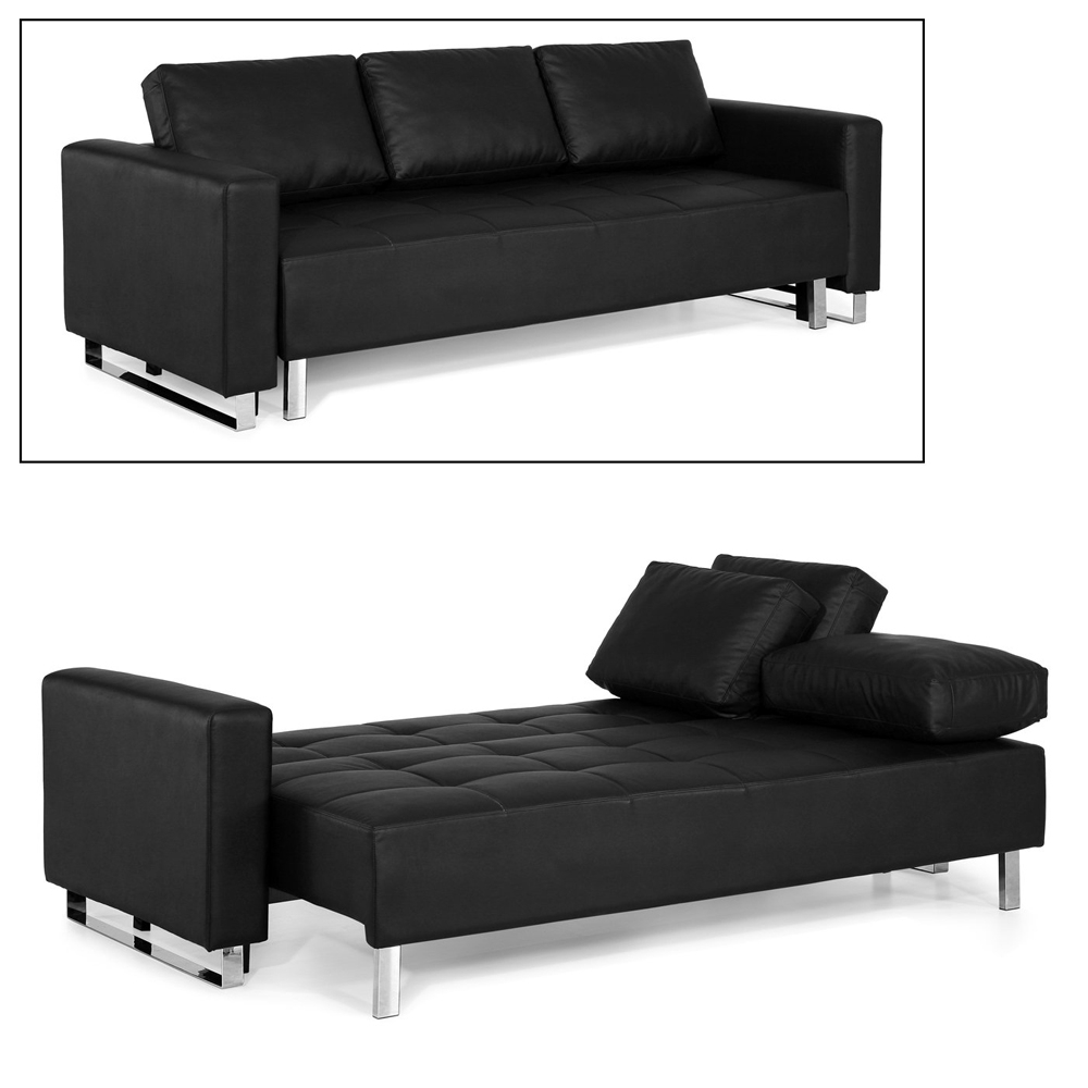 Most Current Furniture: Fabulous Faux Leather Futon For Living Room Decor Inside Futons With Chaise Lounge (View 14 of 15)