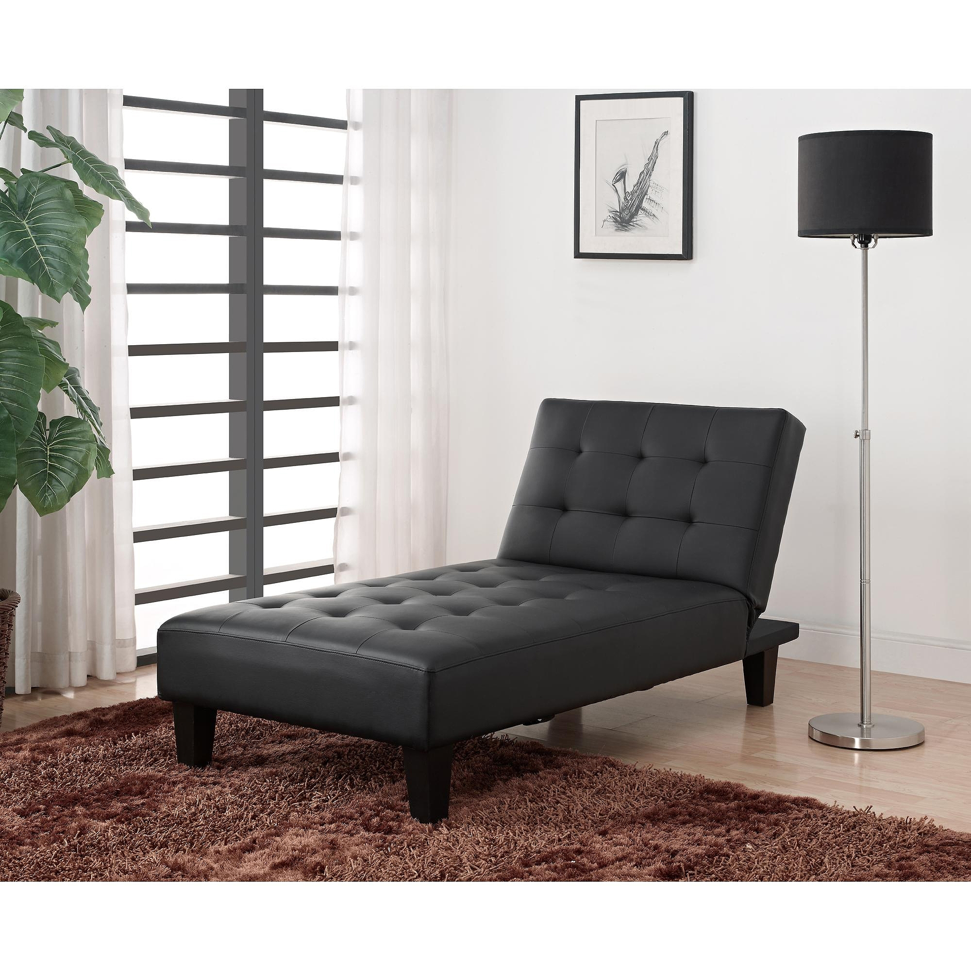 Most Current Futon Chaises Intended For Julia Futon Chaise Lounger, Black – Walmart (View 10 of 15)