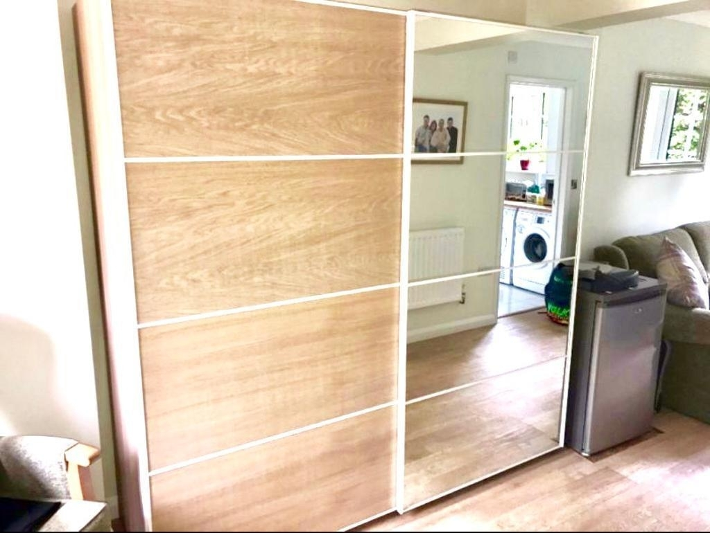 Most Current Ikea Pax Auli Mirror & Ilseng White Stained Oak Sliding Door Within Oak And White Wardrobes (View 13 of 15)