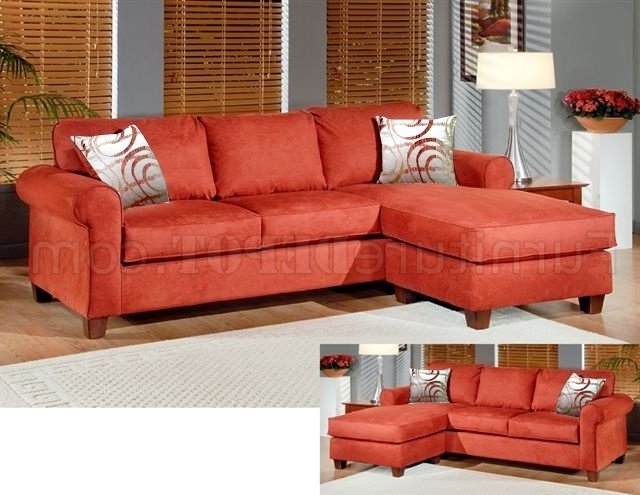 Most Current Orange Fabric Modern Reversible Sectional Sofa W/throw Pillows Regarding Orange Sectional Sofas (View 10 of 10)