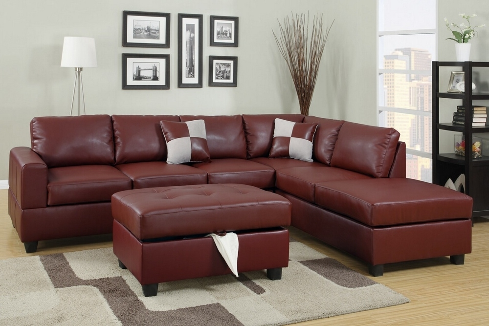 Most Current Red Leather Sectionals With Ottoman For A.m.b (View 2 of 10)