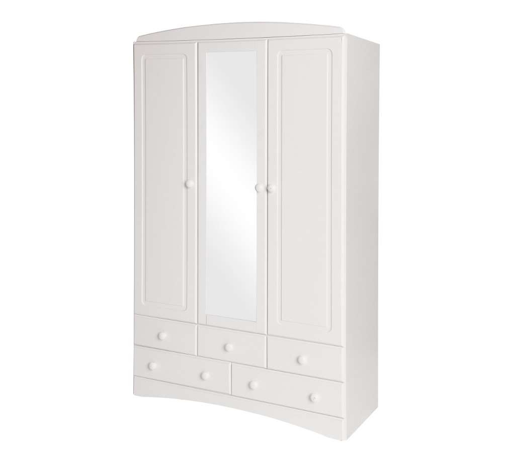 Most Current Room4 Scandi White 3 Door 5 Drawer Wardrobe With With Regard To White 3 Door Wardrobes With Drawers (View 11 of 15)