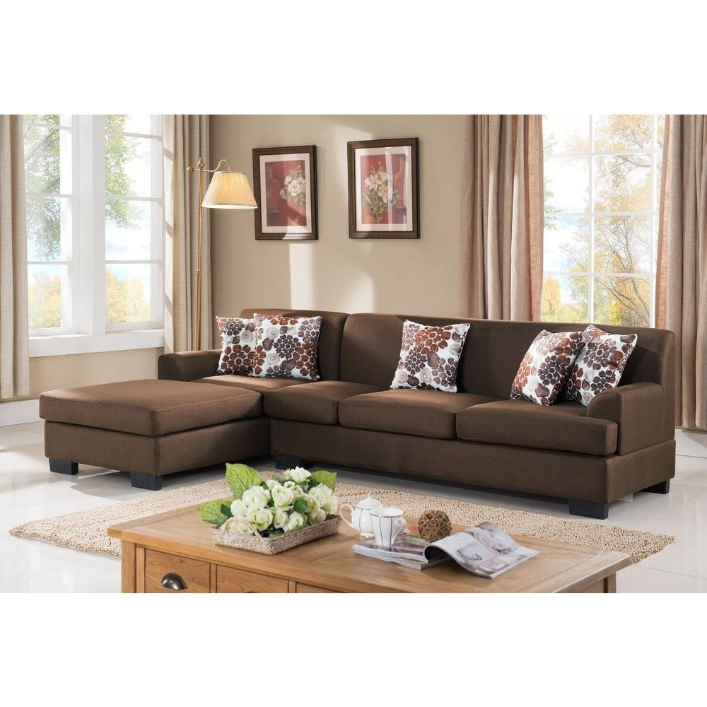 Most Current Sectionals With Reversible Chaise With Regard To 2 Piece Brown Linen Sectional S0072 2pc – The Home Depot (View 9 of 15)