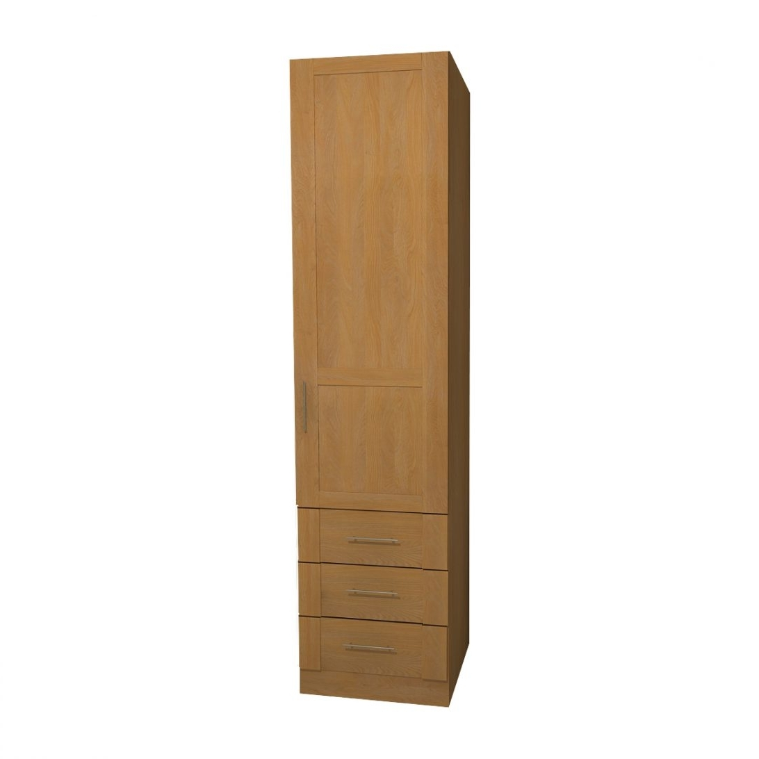 Most Current Single Oak Wardrobes With Drawers Throughout Single Door Wardrobe With Drawers Uk Black White And Mirror Pine (View 4 of 15)