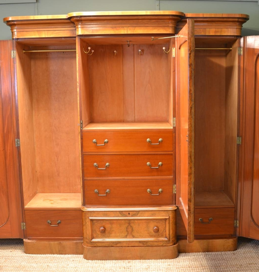 Most Current Spectacular Quality Figured Burr Walnut Antique Triple Wardrobe With Regard To Antique Triple Wardrobes (View 9 of 15)