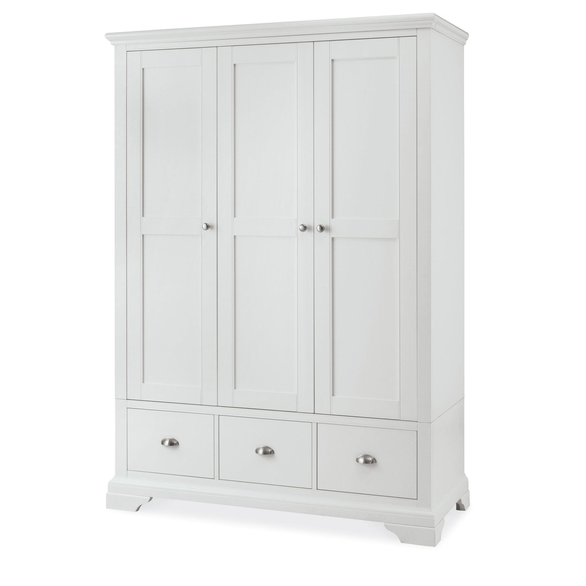 Most Current White 3 Door Wardrobes Within Cookes Collection Camden White Triple Wardrobe – Bedding Furniture (View 10 of 15)