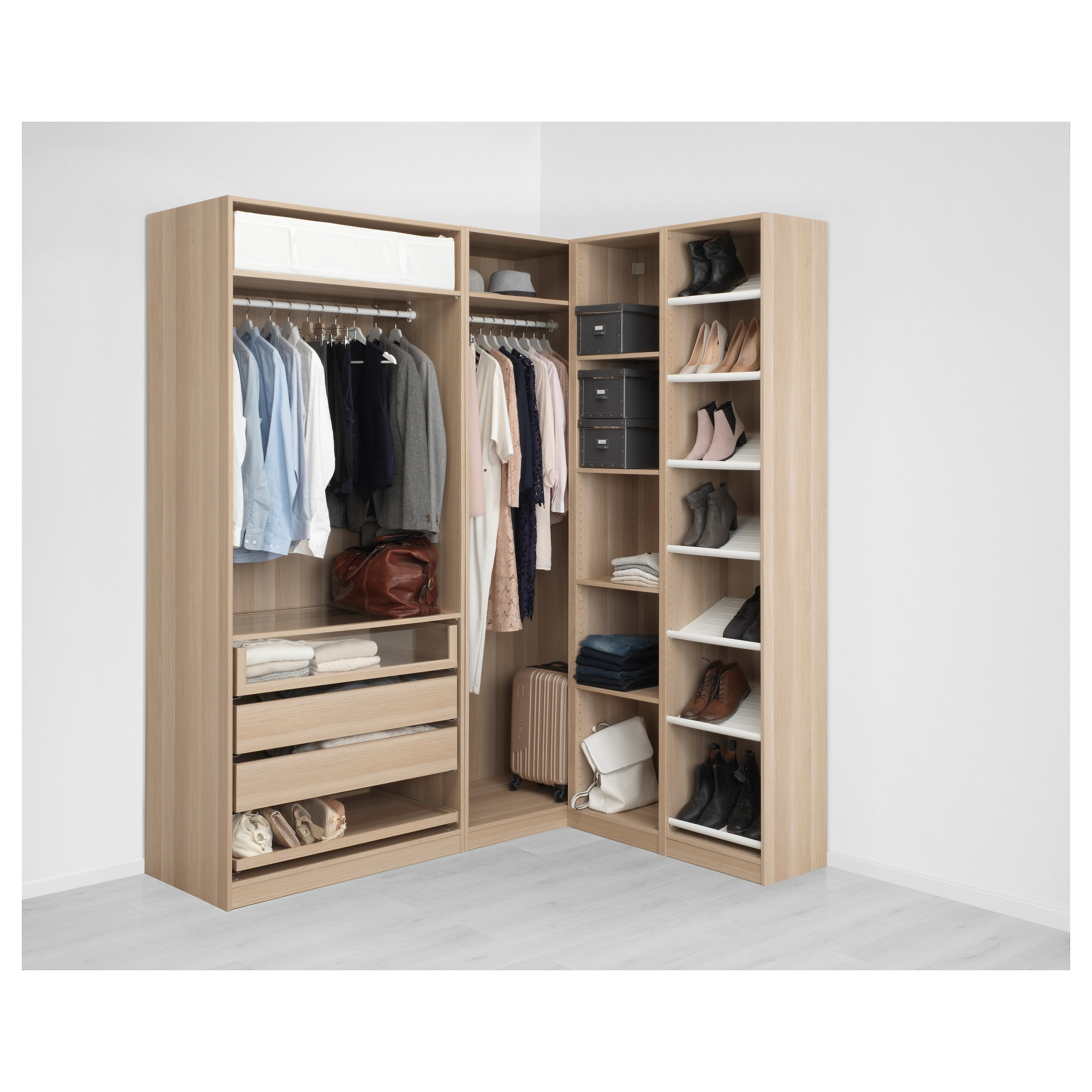 Most Current White Corner Wardrobes Units With Regard To Pax Corner Wardrobe White Stained Oak Effect/nexus Vikedal  (View 5 of 15)