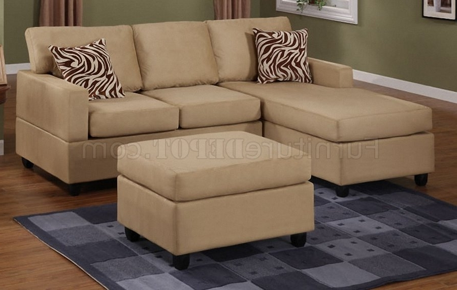 Most Popular 2 Seat Sectional Sofas With Hazelnut Plush Microfiber Casual Small Sectional Sofa W/ottoman (View 10 of 15)