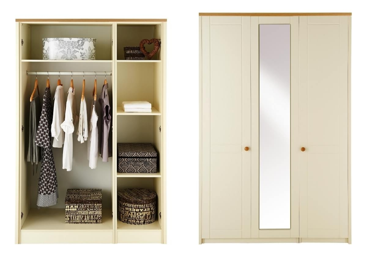Most Popular 3 Door Mirrored Wardrobes Within Alderley Cream Ready Assembled And Partly Assembled Bedroom (View 9 of 15)