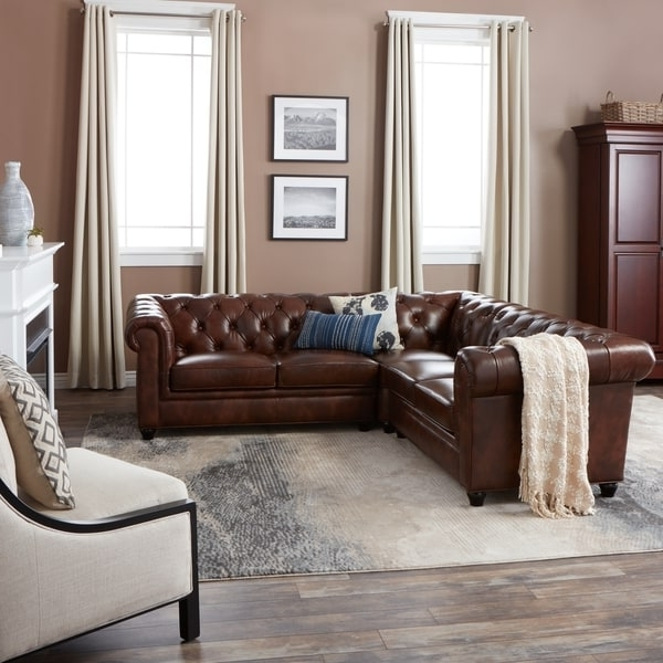 Most Popular Abbyson Sectional Sofas In Abbyson Tuscan Tufted Top Grain  Leather 3 Piece Sectional Sofa
