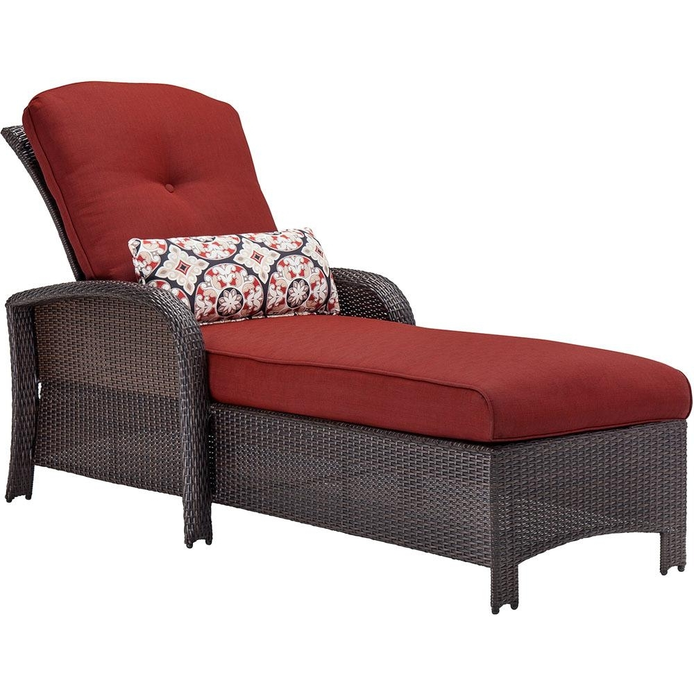 Most Popular Cambridge Corolla Wicker Outdoor Chaise Lounge With Red Cushions In Red Chaise Lounges (View 14 of 15)