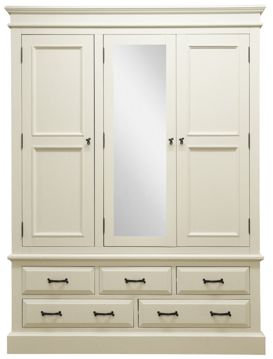 Most Popular Classic Mirrored White Painted Wooden Wardrobe With Black Knob Within Mirrored Wardrobes With Drawers (View 11 of 15)