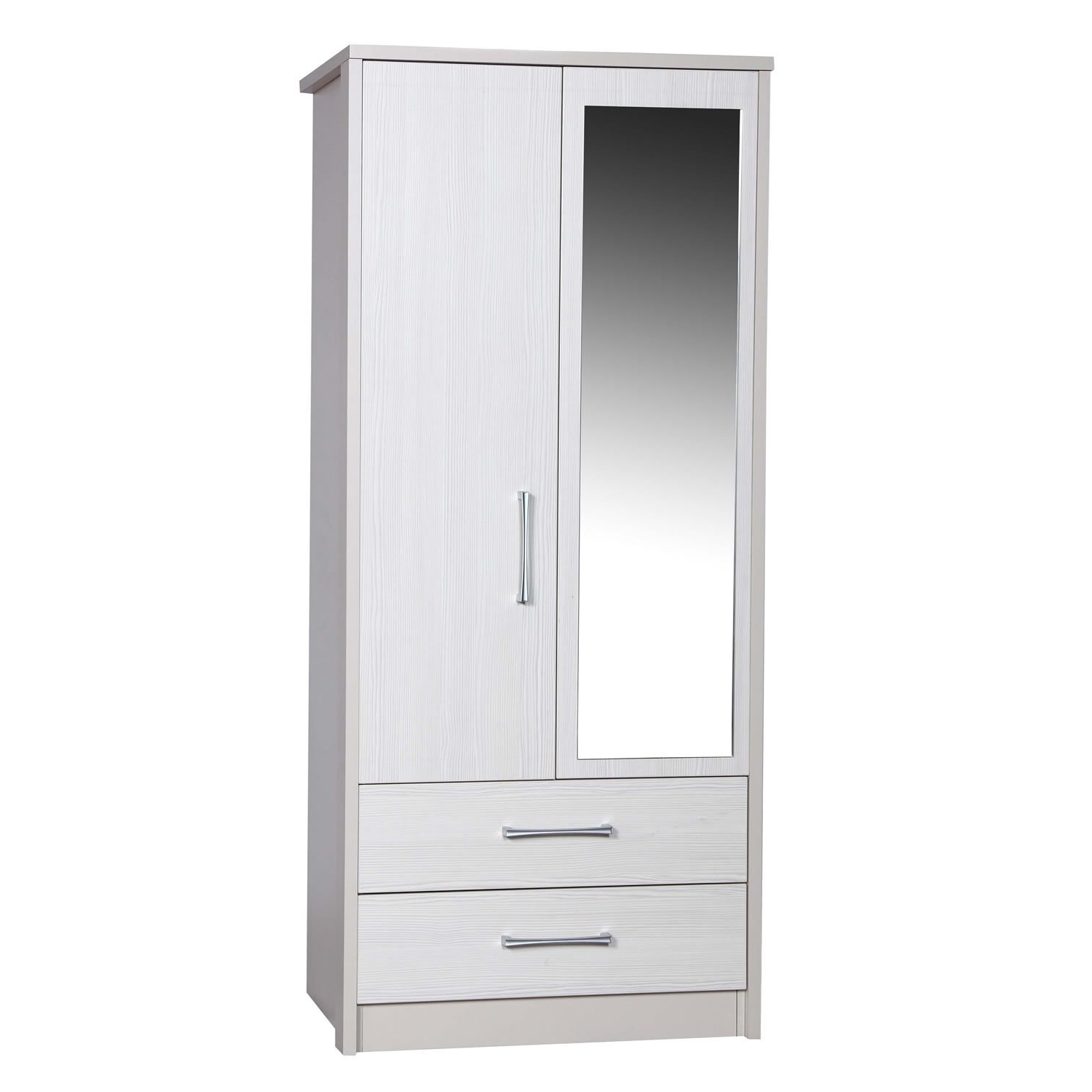 Most Popular Combi Wardrobes Pertaining To Avola White 2 Door 2 Drawer Combi Wardrobe With Mirror – Next Day (View 6 of 15)