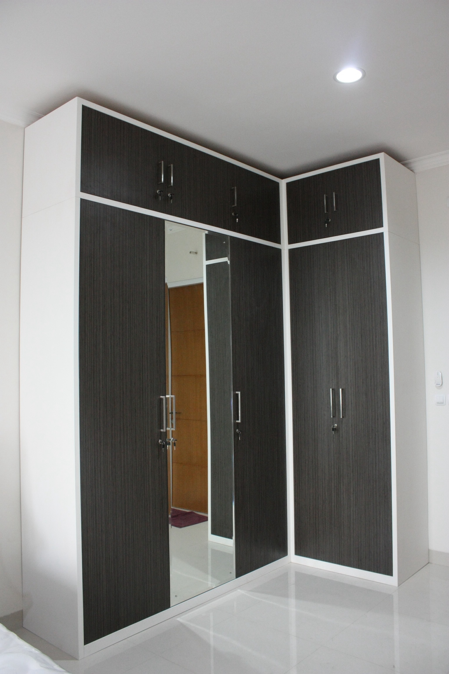 Most Popular Customized L Shaped Wardrobe In Japanese Bamboo Hpl Finish, A Regarding Black Corner Wardrobes (View 10 of 15)