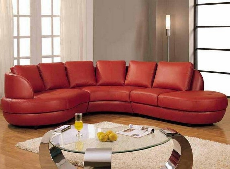 Most Popular Gorgeous Red Leather Sectional Sofa With Chaise And Small Round Inside Small Red Leather Sectional Sofas (View 5 of 10)