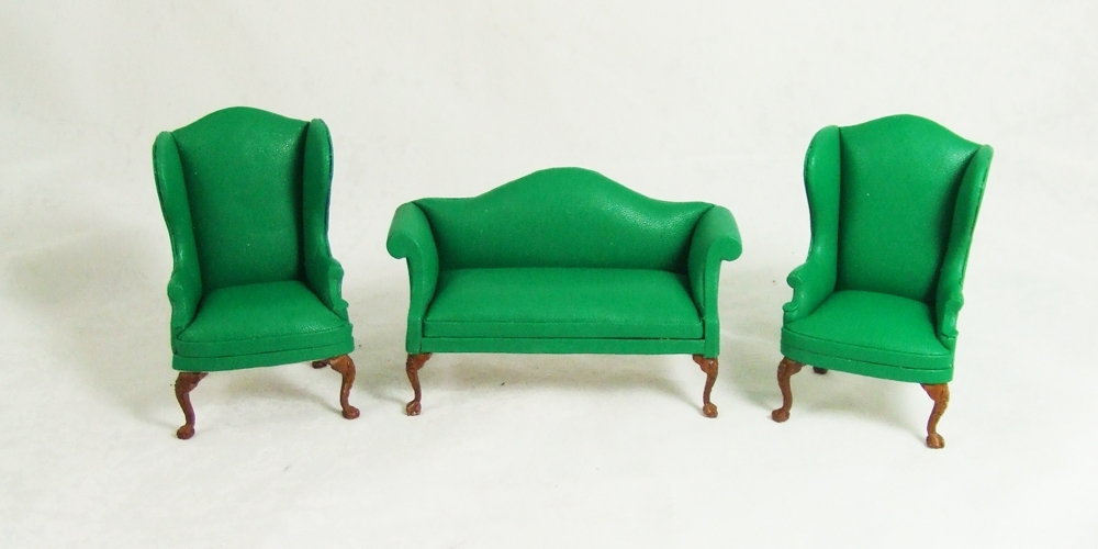 Most Popular Green Sofa Chairs In Ca059 Green Set, A Green Leather Sofa And Wingback Chairs Set (View 4 of 10)