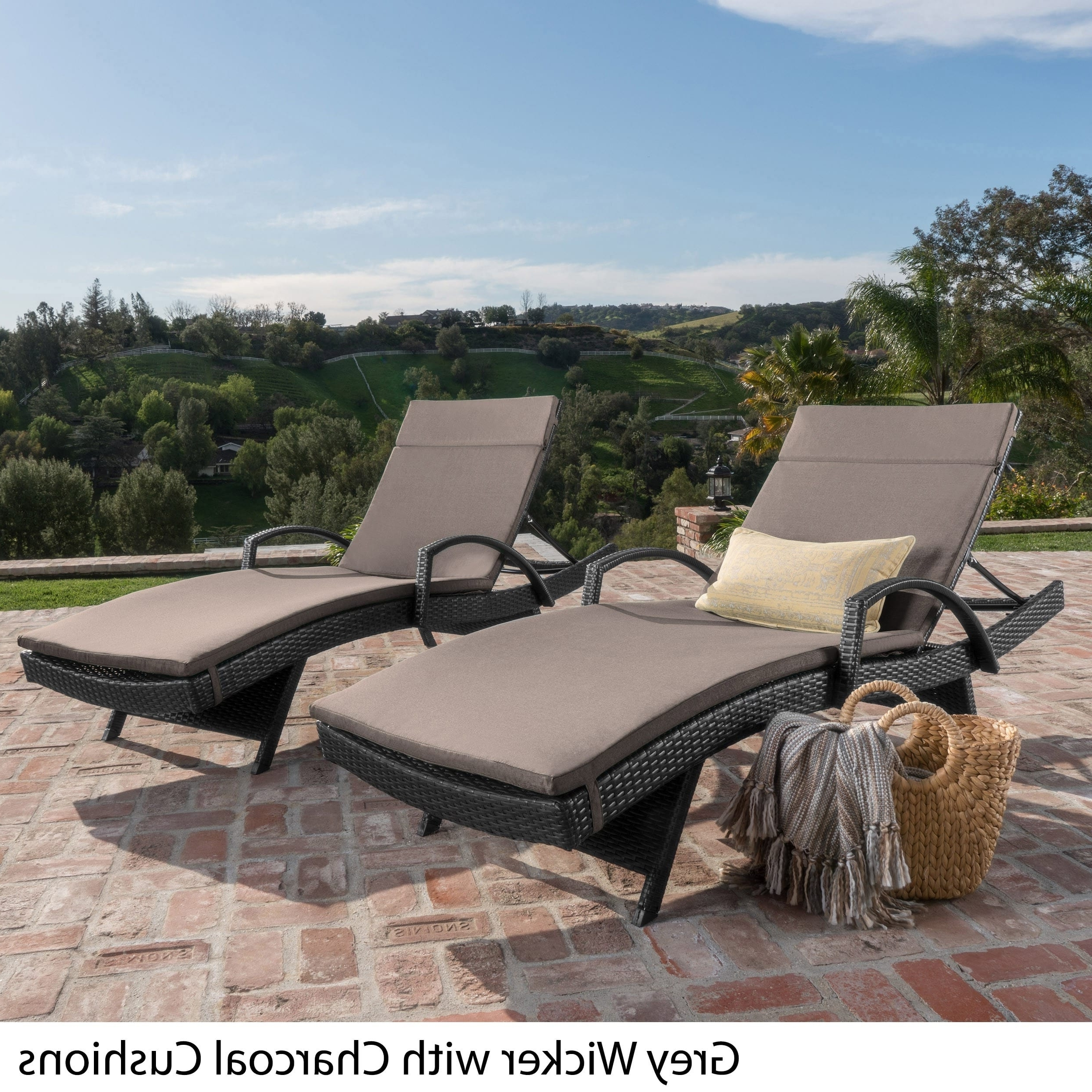 Most Popular Grey Wicker Chaise Lounge Chairs Regarding Toscana Outdoor Wicker Armed Chaise Lounge Chair With Cushion (View 9 of 15)