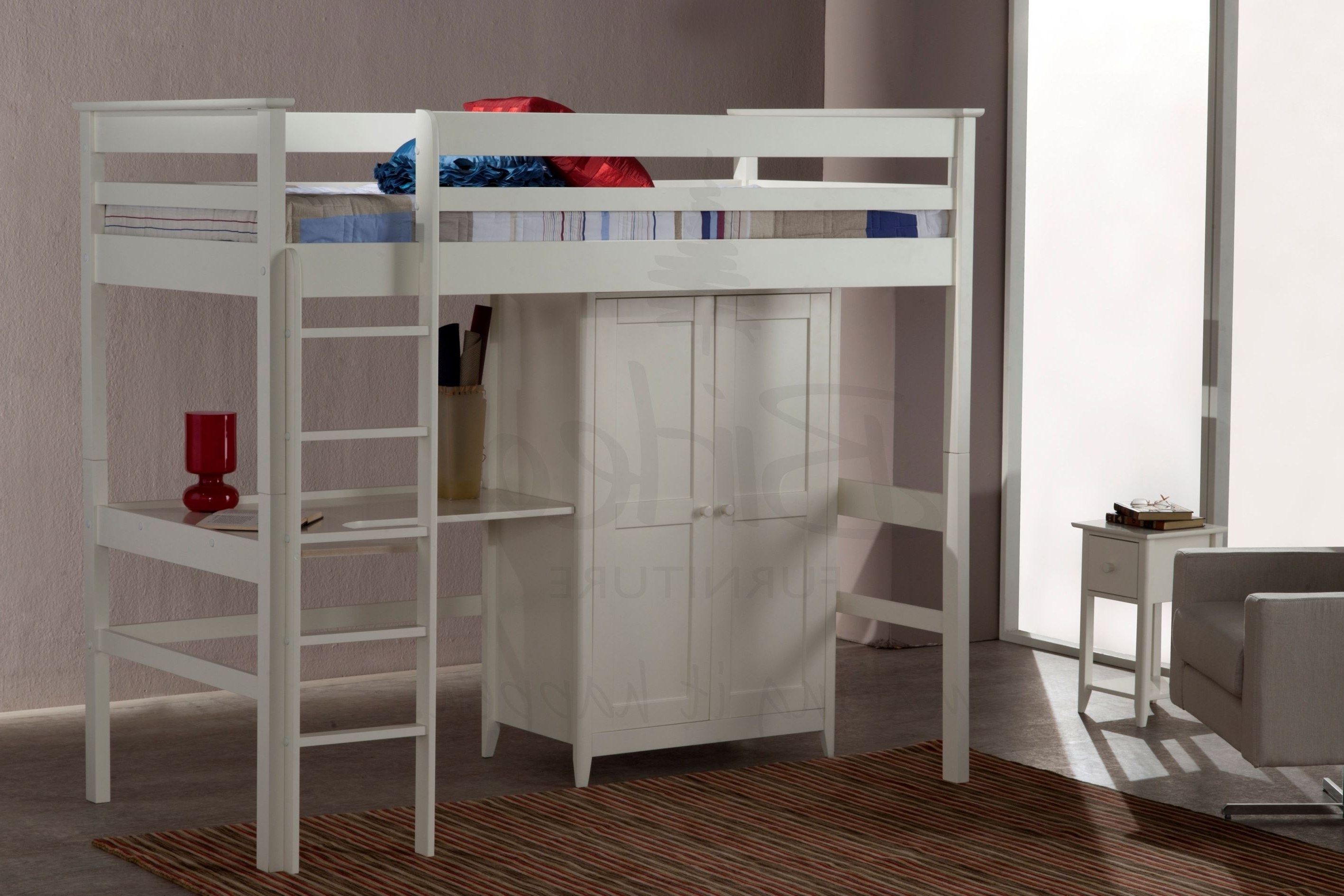 Most Popular High Sleeper Bed With Wardrobes Inside Solemn White Wooden High Beds With Wardrobe Feat Brown Rug As Well (View 4 of 15)