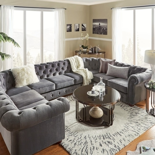 Most Popular Knightsbridge Tufted Scroll Arm Chesterfield 9 Seat U Shaped Pertaining To Gray U Shaped Sectionals (View 2 of 10)