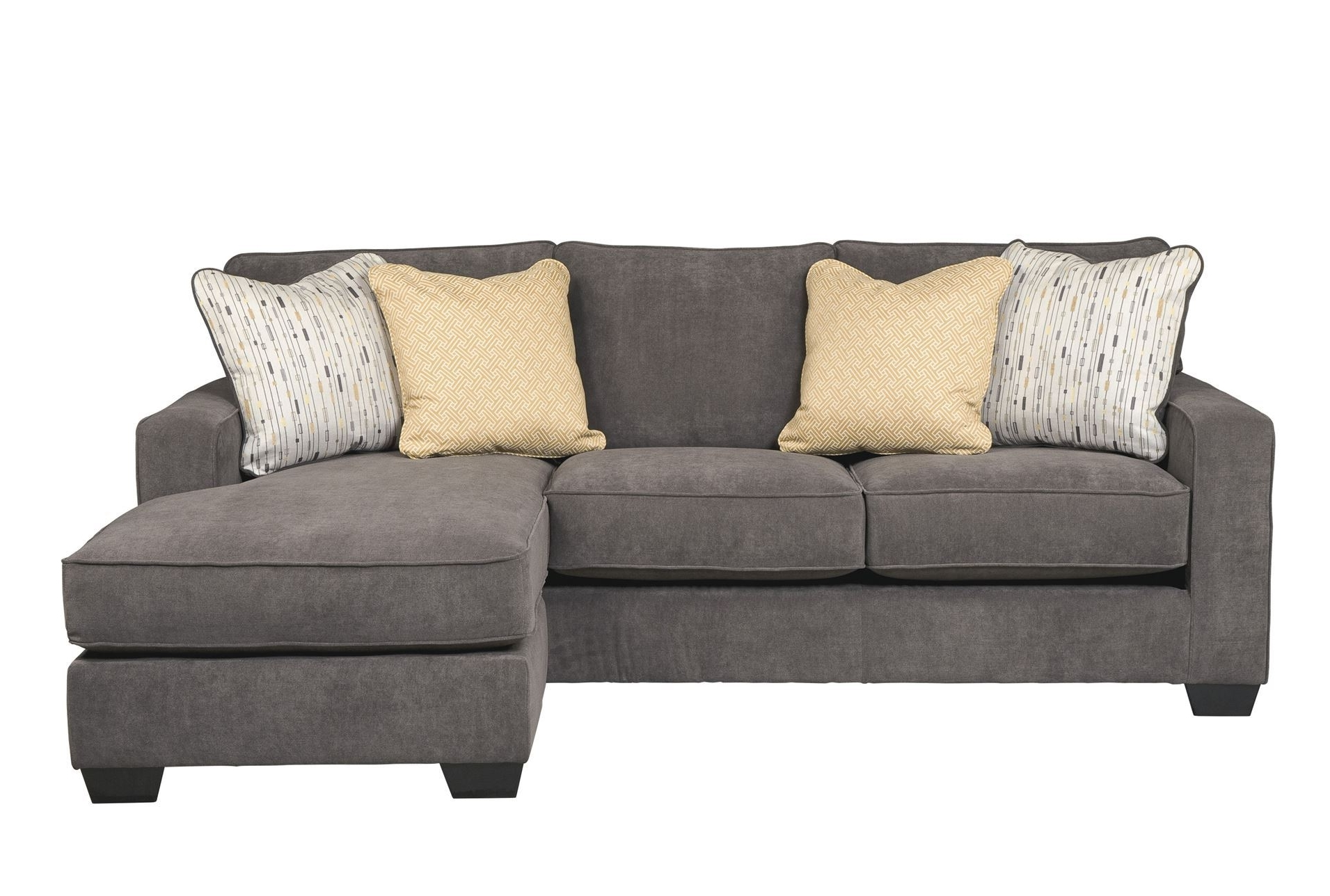Most Popular L Grey Fabric Sectional Couch With Chaise And Three Seats Regarding Grey Sectional Sofas With Chaise (View 9 of 15)