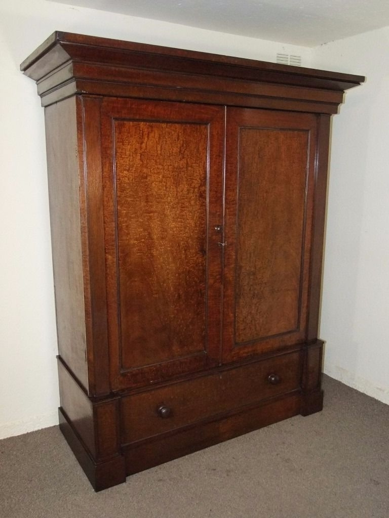 Most Popular Large Antique Wardrobes Throughout Large Antique Victorian Plum Pudding Mahogany Linen Press Wardrobe (View 11 of 15)