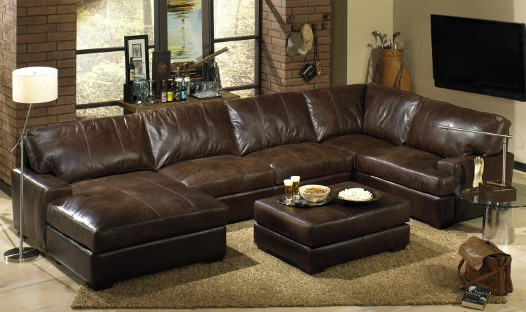 Most Popular Leather Sectional Sofas With Recliners And Chaise With Dark Brown In Leather Sectionals With Chaise And Ottoman (View 4 of 10)