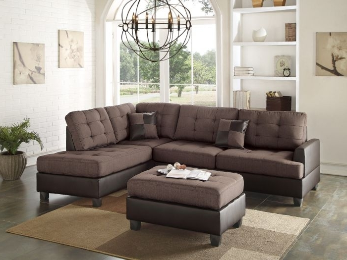 Most Popular Poundex F6857 Chocolate Polyfiber Two Tone Sectional Ottoman Sofa Set Throughout Sectionals With Ottoman (View 8 of 10)