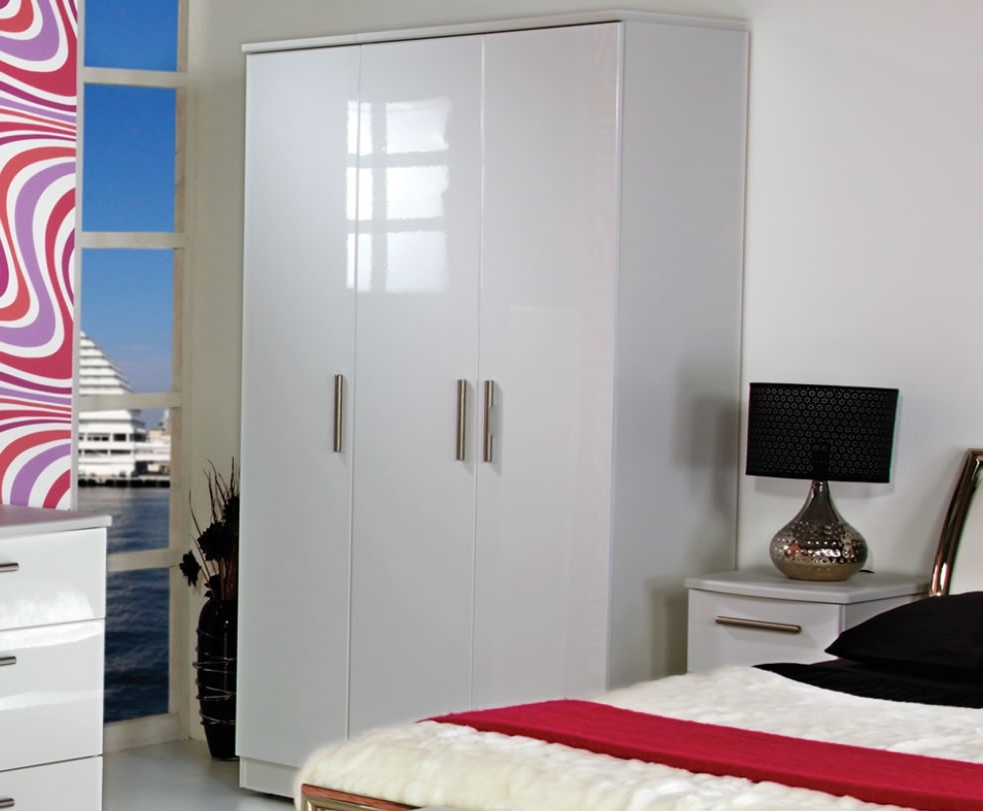 Most Popular Queen 3 Door White High Gloss Wardrobes Regarding Wardrobes White Gloss (View 2 of 15)