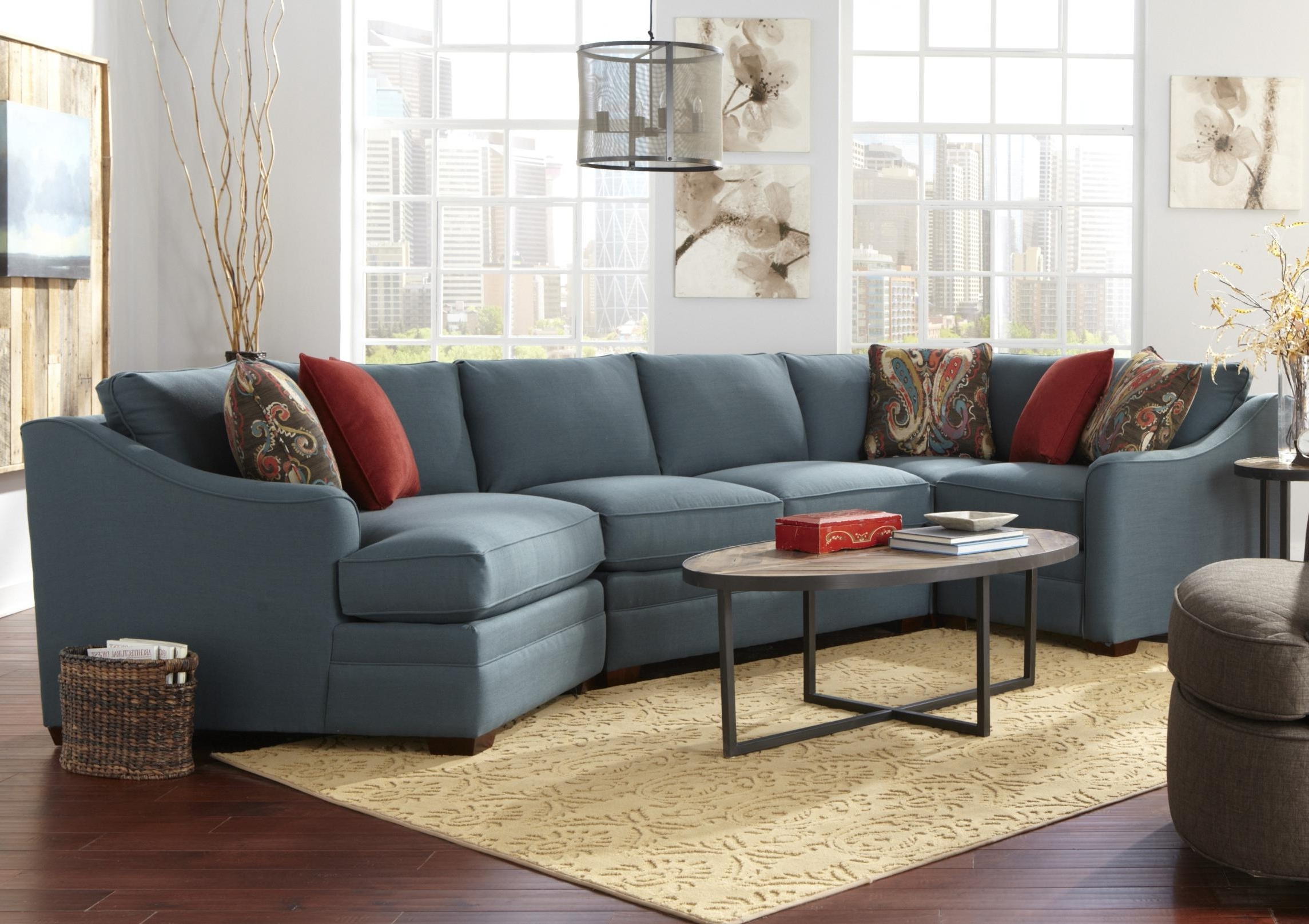 Most Popular Sectional Sofas With Cuddler Chaise With Regard To Four Piece <b>customizable</b> Sectional Sofa With Raf Cuddler (View 5 of 15)
