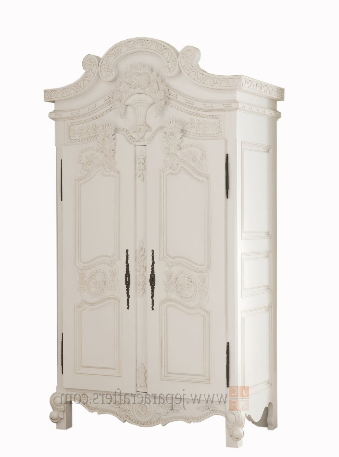 Most Popular White French Armoire Wardrobes Inside Louis French White Furniture Armoire Wardrobe Indonesia Manufacturer (View 5 of 15)