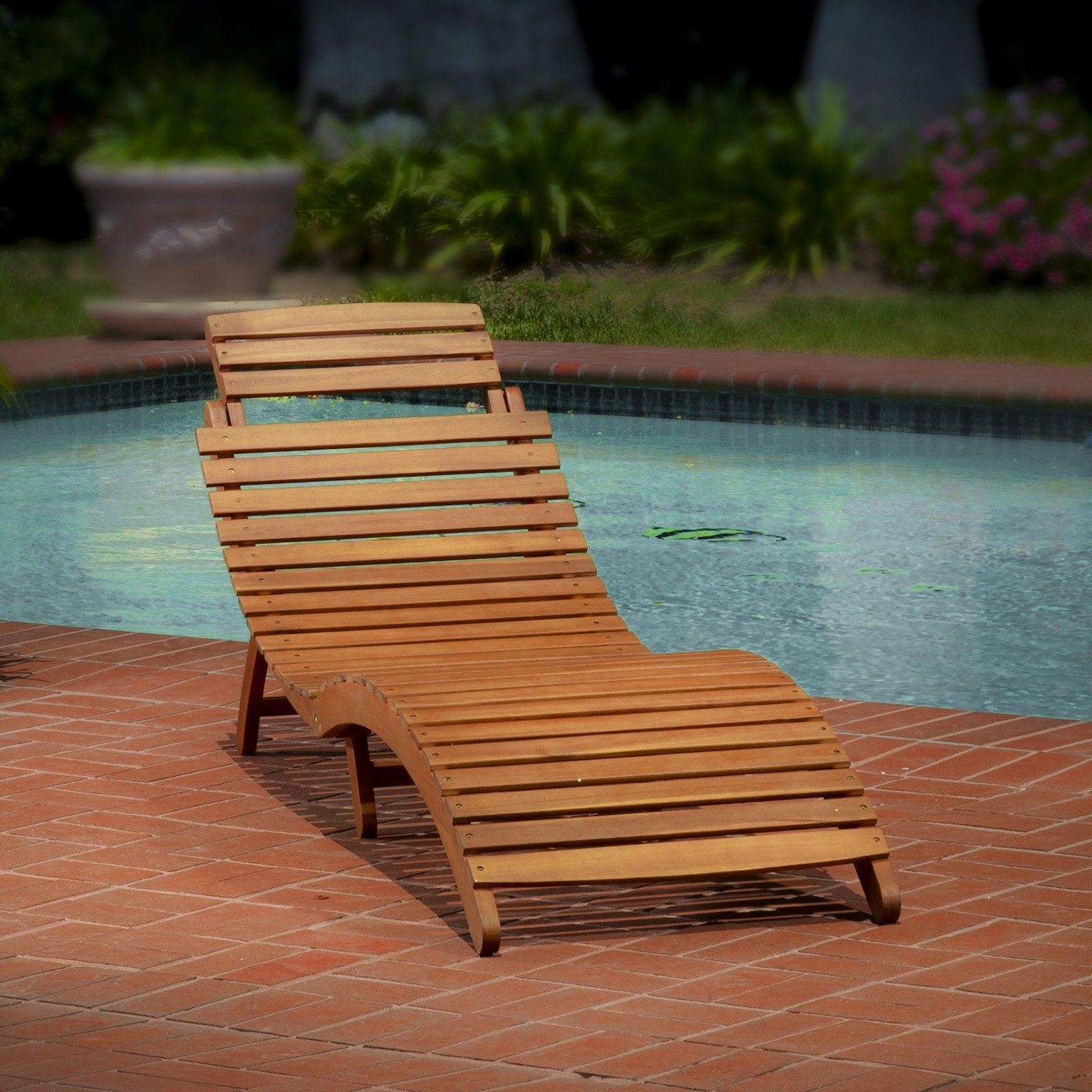 Most Popular Wood Chaise Lounge Chairs For Lahaina Wood Outdoor Chaise Lounge – Walmart (View 13 of 15)