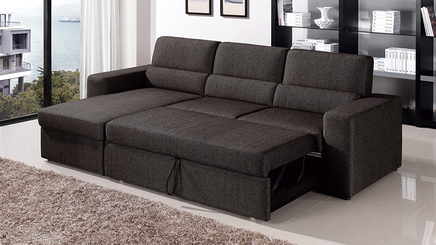 Most Recent Amazon: Black/brown Clubber Sleeper Sectional Sofa – Right Throughout Sectional Sleeper Sofas With Chaise (View 7 of 15)