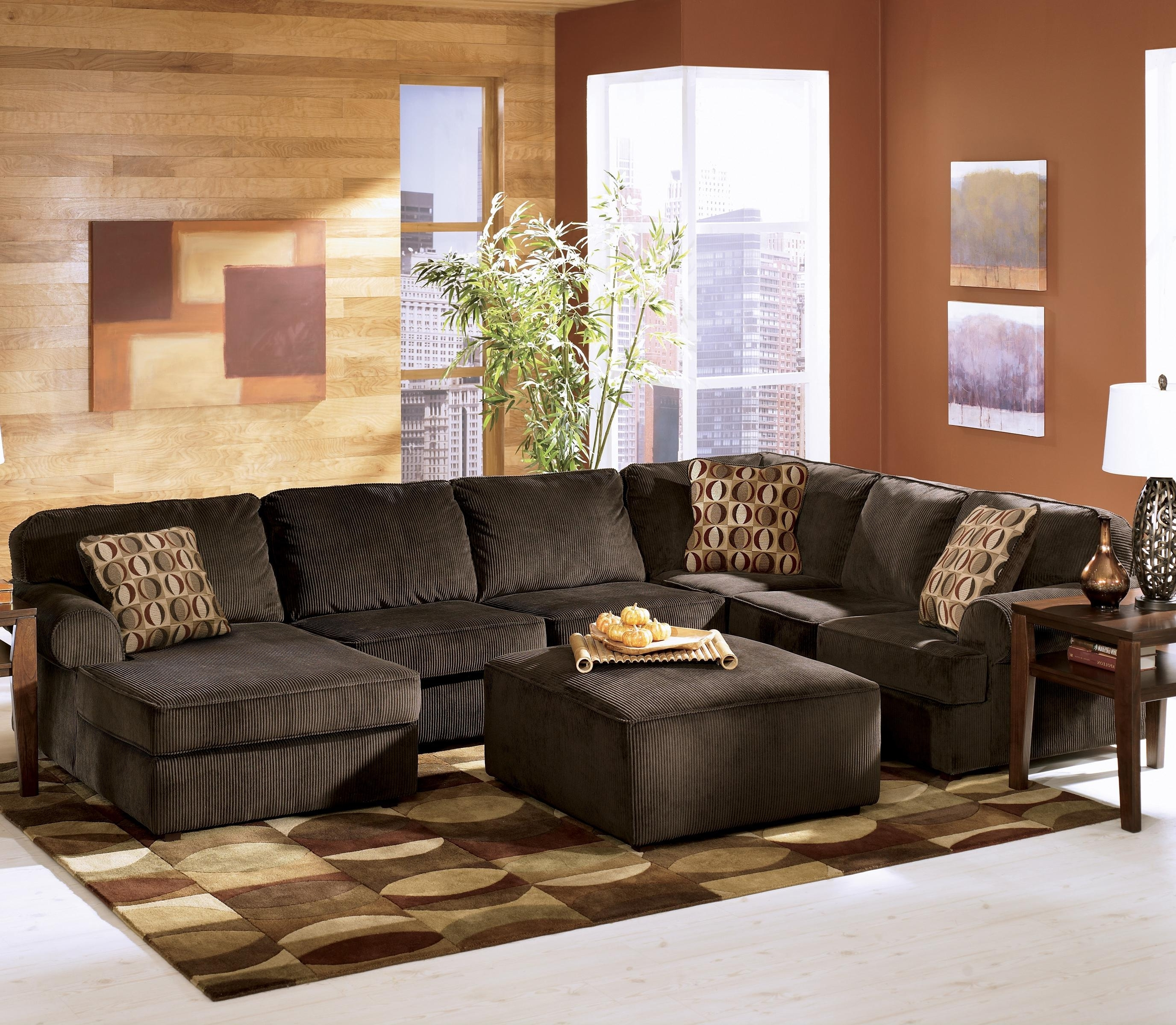 Most Recent Ashley Furniture Vista – Chocolate Casual 3 Piece Sectional With Pertaining To Ashley Furniture Sofa Chaises (View 10 of 15)