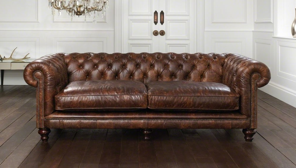 Most Recent Chesterfield Sofa / Leather / 2 Seater / Brown – Hampton Intended For Leather Chesterfield Sofas (View 6 of 10)