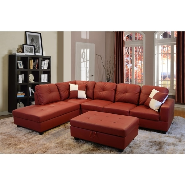 Most Recent Delma 3 Piece Red Faux Leather Right Chaise Sectional Set With In Red Faux Leather Sectionals (View 5 of 10)