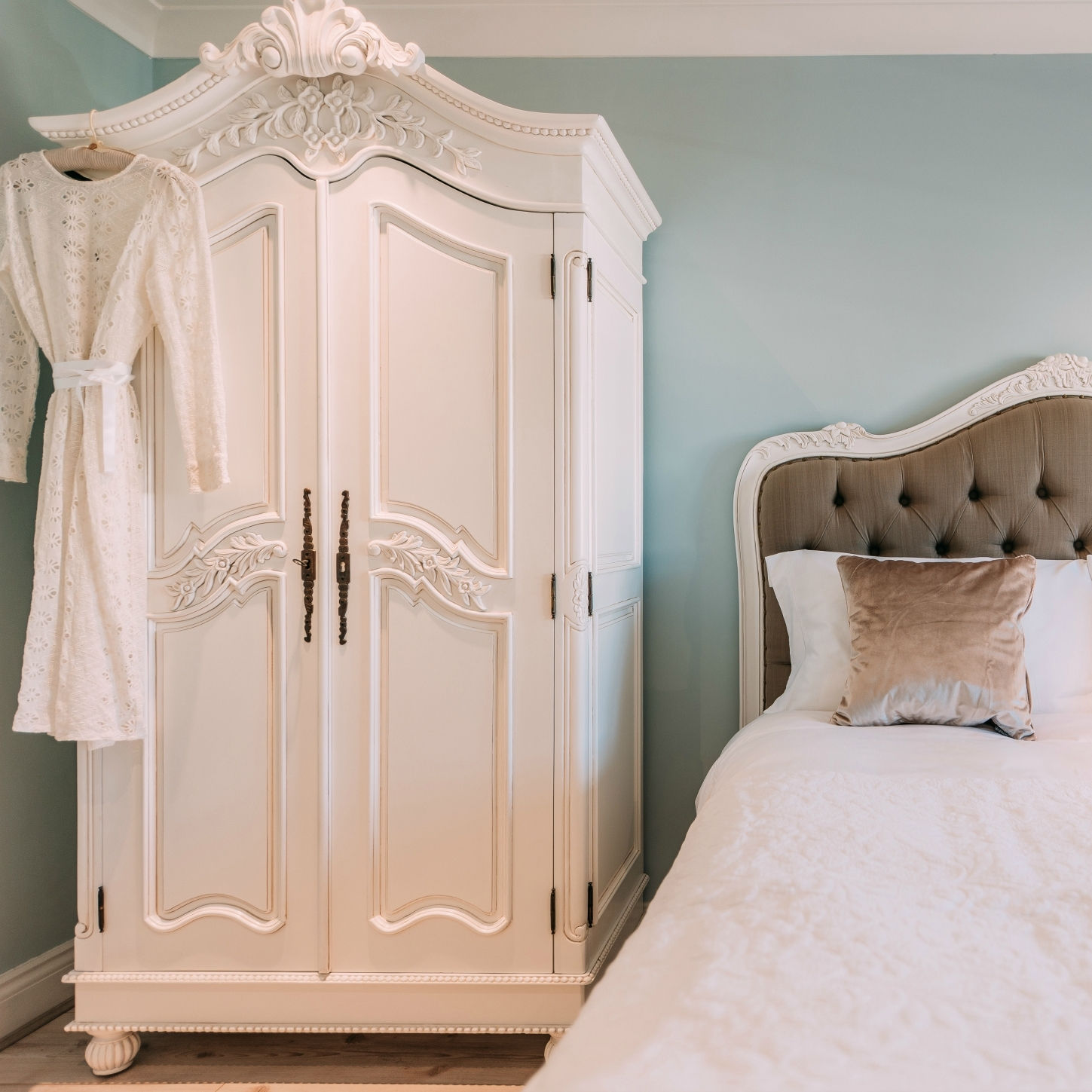Most Recent French Armoires Wardrobes Throughout French White Hand Carved Double Armoire Wardrobe Furniture – La (View 11 of 15)
