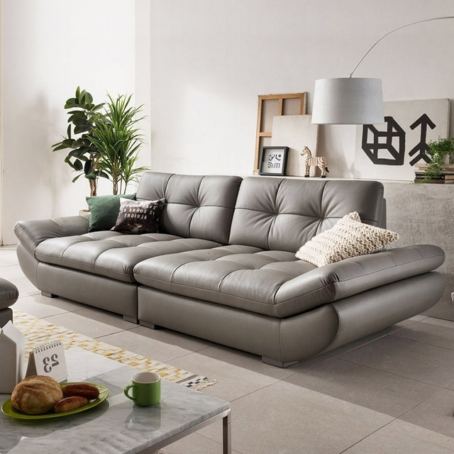 Most Recent Genuine Leather Sofa Sectional Living Room Sofa Corner Home With 4 Seat Leather Sofas (View 12 of 15)