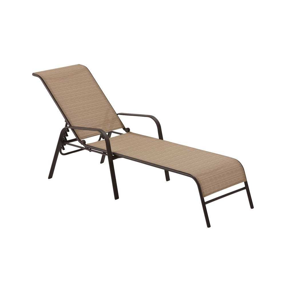 Most Recent Hampton Bay Mix And Match Sling Outdoor Chaise Lounge Fls00036G W Pertaining To Metal Chaise Lounge Chairs (View 10 of 15)